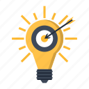 arrow, bulb, business, idea, marketing, solution, target icon
