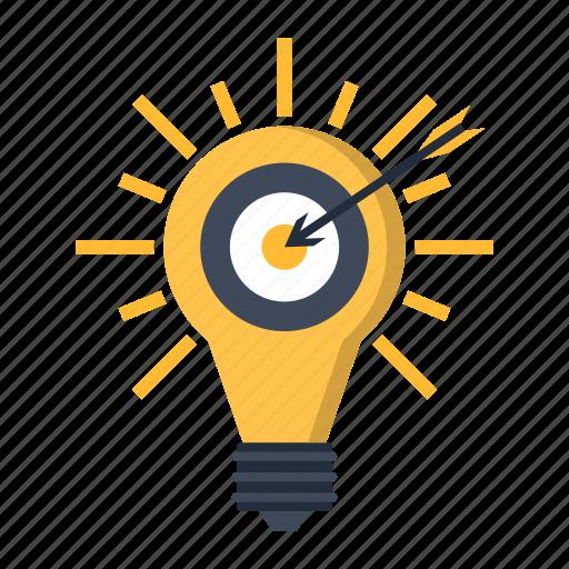 arrow, bulb, business, idea, marketing, solution, target icon