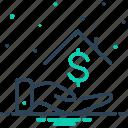 house, borrower, lender, investment, bribery, installment, loan money icon