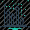 advertisement, advertising, analysis, application, arrow, development, market prediction icon