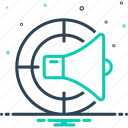 advertising, forecasting, infographic, infomercial, marketing vision, megaphone, providence icon