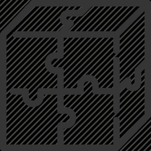 cube, idea, jigsaw, pieces, puzzle, solution, solve icon