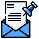document, important, mail, pinned, reminder icon