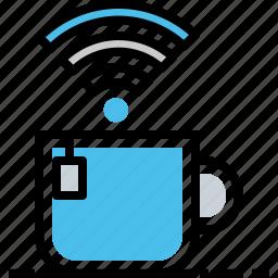 coffee, mug, network, office, tea, wifi, work icon