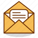 email, envelope, letter, mail, message, open, recieve icon