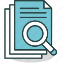 document, examine, find, look, magnifier, papers, search icon