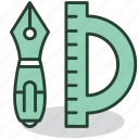 equipment, office, pen, protractor, stationary, supplies, work icon