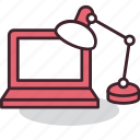 computer, desk, lamp, office, place, work, workplace icon