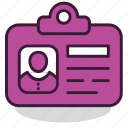 badge, business, card, identification, identity, personal, profile icon