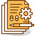data, documents, file, gear, management, pen, settings icon
