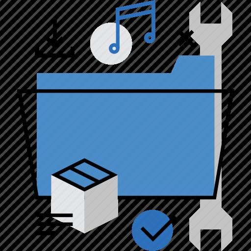catalog, data, files, folder, media, preferences, settings icon