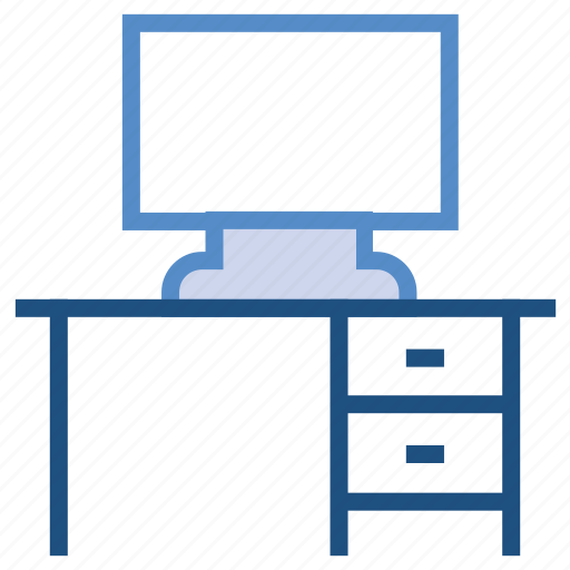 computer table, desk, furniture, lcd, office, table icon
