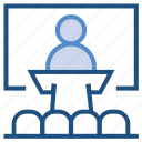business, conference, lecture, management, presentation, speech icon