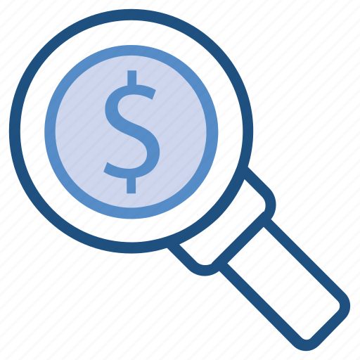 audit, business, dollar, magnifier, money, searching icon