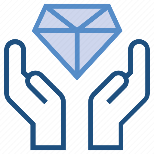care, diamond, gift, hands, present, safe, wealth icon