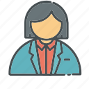 business, employee, employer, female, id, presentation, woman icon