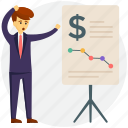 business loss chart, financial loss, investor loss, passive loss, stock market crash icon