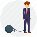 business law and crime concept, businessman with prison ball, chained feet, foot with prison ball, leg chain icon