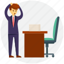 business concept, business frustration, frustrated businessman, job workload, workplace frustration icon