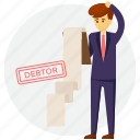 bankruptcy, borrower, debtor, defaulter, unable to repay debts icon
