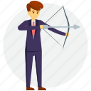 business aiming, business strategy, businessman with arch, career objective, marketing concept icon