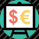 board, dollar, euro icon