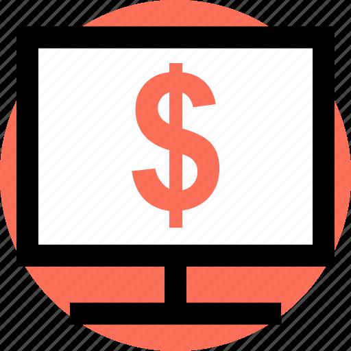 computer, dollar, pc icon