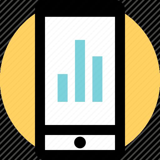bars, data, phone icon