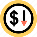 dollar, down, download icon