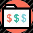 dollar, folder, save icon