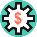 dollar, gear, rotate, sign icon