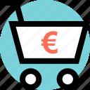 cart, ecommerce, euro icon