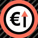 euro, folder, up icon