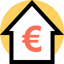 euro, home, house icon