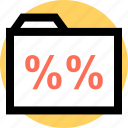 folder, percent, percentage, rate icon