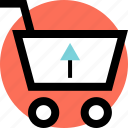 arrow, cart, shopping, up icon
