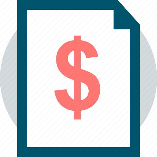 document, dollar, page icon