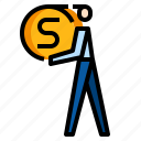 business, coin, currency, man, money icon