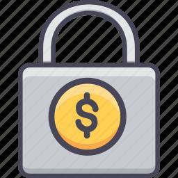 dollar, finance, lock, locker, money, safety, security icon