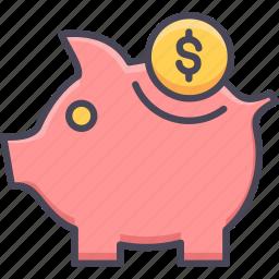 bank, banking, cash, money, piggy bank, saving, savings icon