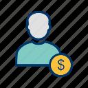 avatar, dollar, man icon