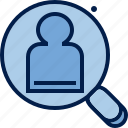business, finance, person, preview, profile, user, zoom icon