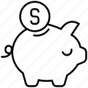 animal, dollar, finance, money, pig, piggybank, safe icon