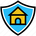 business, business & finance, house, protection, security, shield icon
