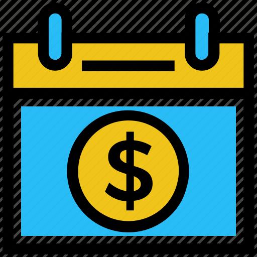 agenda, business, business & finance, calendar, dollar, schedule icon