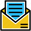 business, business & finance, document, letter, mail, open envelope icon