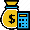 business, business & finance, calculator, cash counting, money bag, money count icon