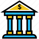 bank, banking, building, business, business & finance, finance icon