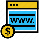 business, business & finance, dollar, internet, money, web page icon