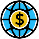 business, business & finance, dollar, globe, international coin, world
